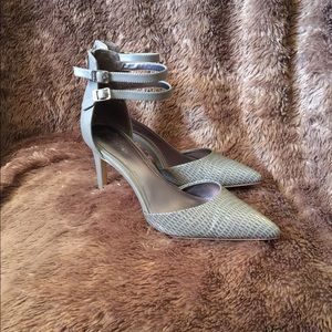 Calvin Klein Gray Ankle Strap Heels, Size 9 EUC